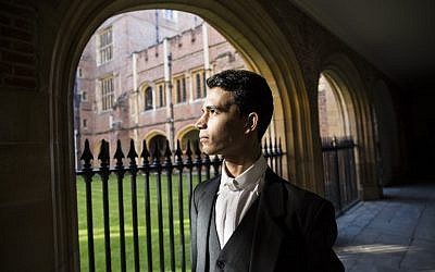 Libyan-born student Ammar Mustapha poses for a photograph at Eton College, in Eton, west of London, on October 1, 2015. (AFP PHOTO / JACK TAYLOR)