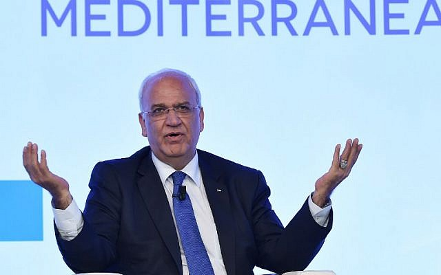 PLO Secretary-General Saeb Erekat delivers a speech during the Mediterranean Dialogues (MED), a three-day conference on security in the Mediterranean region, on December 11, 2015 in Rome.  (AFP PHOTO/ALBERTO PIZZOLI)