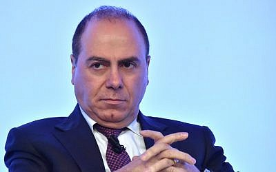 Interior Minister Silvan Shalom attends the Mediterranean Dialogues (MED), a three-day conference on security in the Mediterranean region, on December 11, 2015 in Rome. (AFP PHOTO/ALBERTO PIZZOLI)