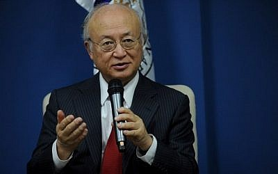 Yukiya Amano, director general  of the International Atomic Energy Agency (IAEA), speaks during a press briefing in Manila on December 7, 2015. (AFP PHOTO / Jay DIRECTO)