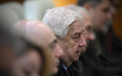 Syria's Foreign Minister Walid Moallem during a meeting in Beijing on December 24, 2015 (AFP/Wang Zhao)