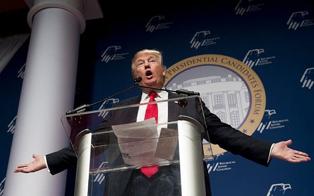 Republican Presidential hopeful Donald Trump speaks during the 2016 Republican Jewish Coalition Presidential Candidates Forum in Washington, DC, December 3, 2015 (AFP PHOTO / SAUL LOEB)