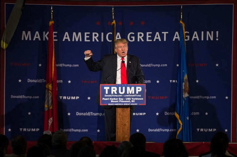 Republican presidential candidate Donald Trump speaks to the crowd at a Pearl Harbor Day Rally at the U.S.S. Yorktown December 7, 2015 in Mt. Pleasant, South Carolina. Sean Rayford/Getty Images/AFP)