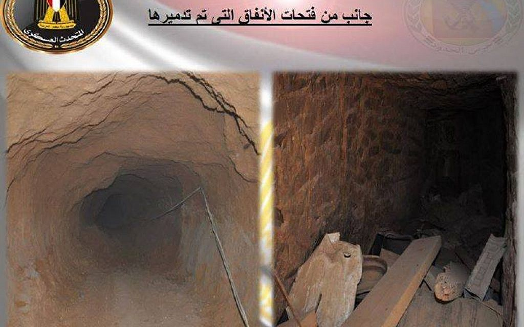 A screen capture from a Facebook post by the Egyptian army showing the Gazan smuggling tunnels it says it destroyed in November 2015. (Screen capture: Facebook)