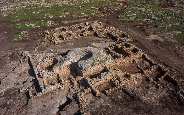 Aerial photograph of the 2,700-year-old farmhouse found near Rosh Ha'ayin (Griffin Aerial Imaging)