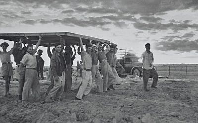 Pioneers build a new settlement in 1949. (Courtesy KKL-JNF/Avraham Malovsky)