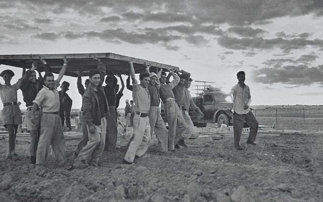 Pioneers build a new settlement in 1949. (Courtesy KKL-JNF/Avraham Malovsky)