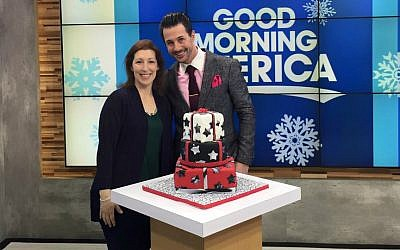 Lauren Katz appears on Good Morning America with judge Johnny Iuzzini after winning the Great Holiday Baking Show, December 22, 2015. (Courtesy)