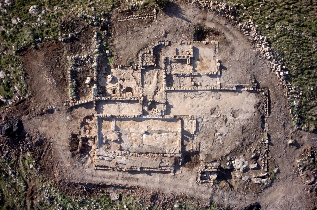 Aerial photograph of a 1,500-year-old Byzantine monastery found near Rosh Ha'ayin (Griffin Aerial Imaging)