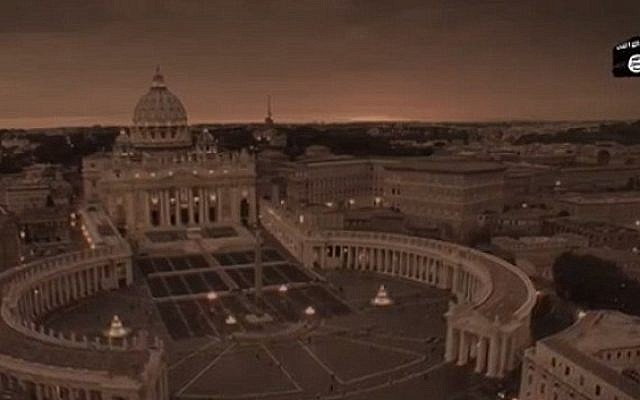 St. Peter's Basilica in Rome features in a new apocalyptic video produced by Islamic State. (screen capture)