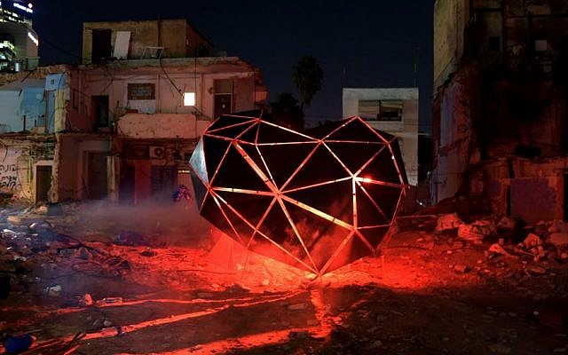 """Careless Hearts"" installation during the three-day Night Light Festival around the Tel Aviv Central Bus Station (courtesy Kfir Sivan/Tel Aviv Municipality)"