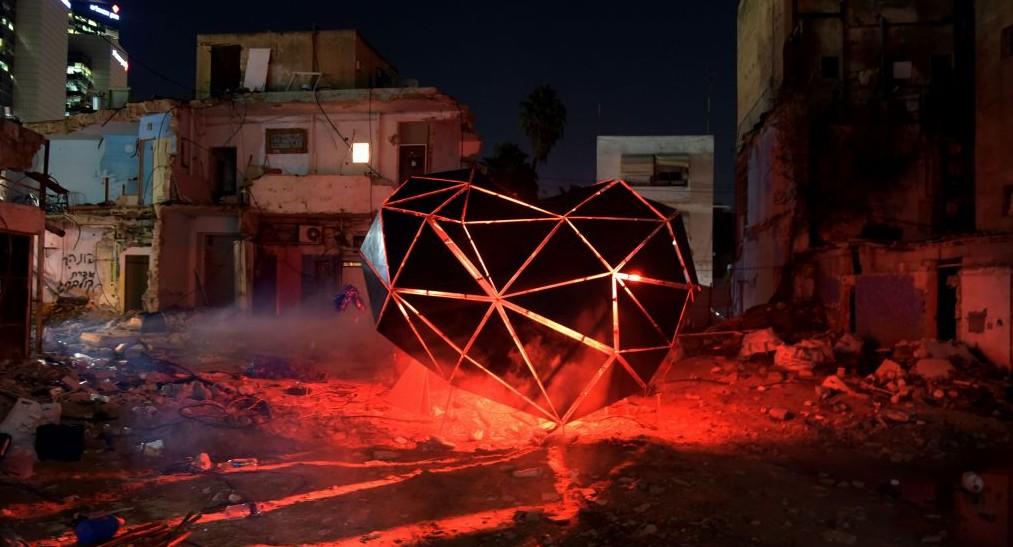 """Careless Hearts"" installation during the three-day Night Light Festival around the Tel Aviv Central Bus Station (courtesy Kfir Sivan/Tel Aviv Municipality)"
