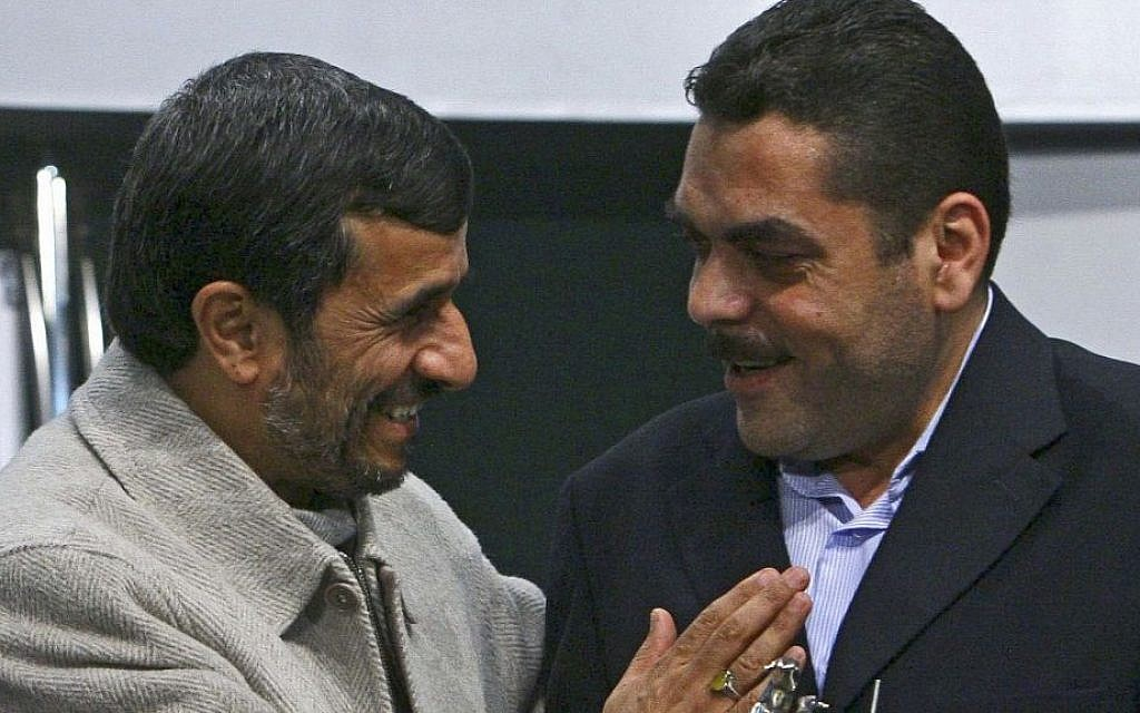 Iranian President Mahmoud Ahmadinejad, left, honors Lebanese terrorist Samir Kuntar, in Tehran, Iran, Thursday, Jan. 29, 2009. (AP/Mehdi Ghasemi)