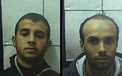 Muhammad Omar Bader Hassan, left, and his cousin, Ahmad Talal Ahmad Saidah, were indicted by a Nazareth District Court for supporting and attempting to join the Islamic State, as well as planning to carry out terror attacks within Israel, December 24, 2015. (Shin Bet)