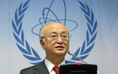 International Atomic Energy Agency Director General Yukiya Amano at a news conference in Vienna, Austria, on November 26, 2015. (AP/Ronald Zak)