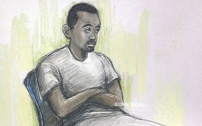 This is a sketch by court artist Elizabeth Cook of Muhaydin Mire appearing at Westminster Magistrates' Court, London, Monday Dec. 7, 2015. (Elizabeth Cook/PA via AP)