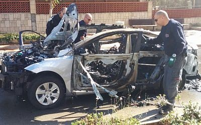Three people were injured when a car bomb exploded in Rishon Lezion on December 28, 2015. (Israel Police spokesperson)
