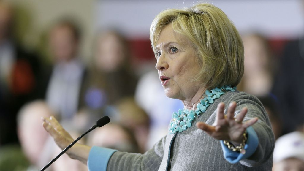 In this Dec. 9, 2015, photo, Democratic presidential candidate Hillary Clinton speaks during a town hall meeting in Waterloo, Iowa. (AP Photo/Charlie Neibergall)