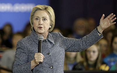 In this Dec. 22, 2015 photo, Democratic presidential candidate Hillary Clinton speaks during a town hall meeting at Keota High School in Keota, Iowa. (AP Photo/Charlie Neibergall)