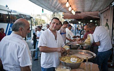 Illustrative image of a falafel stand in East Jerusalem in 2012. (Noam Moskowitz/Flash90)