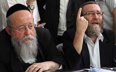 United Torah Judaism MKs Menahem Mozes (left) and Moshe Gafni (Yaakov Naumi/Flash90)