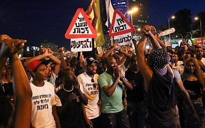 Illustrative: Ethiopian-Israelis protest police brutality and mistreatment in Israeli society, Tel Aviv,  June 3, 2015. (Flash90)