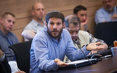 Jewish Home MK Bezalel Smotrich in the Knesset on June 08, 2015. (Miriam Alster/FLASH90 )