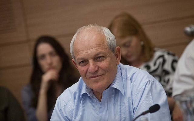 Social Affairs Minister Haim Katz attends a Labor and Welfare committee meeting in the Knesset, June 8, 2015. (Miriam Alster/FLASh90)