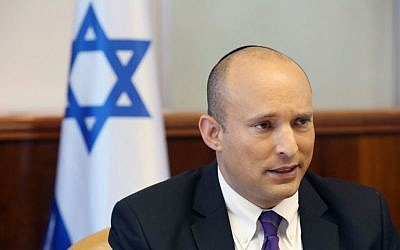Education Minister Naftali Bennett attends the weekly cabinet meeting in Jerusalem on Sunday, August 31, 2015 (Marc Israel Sellem/POOL/Flash90)