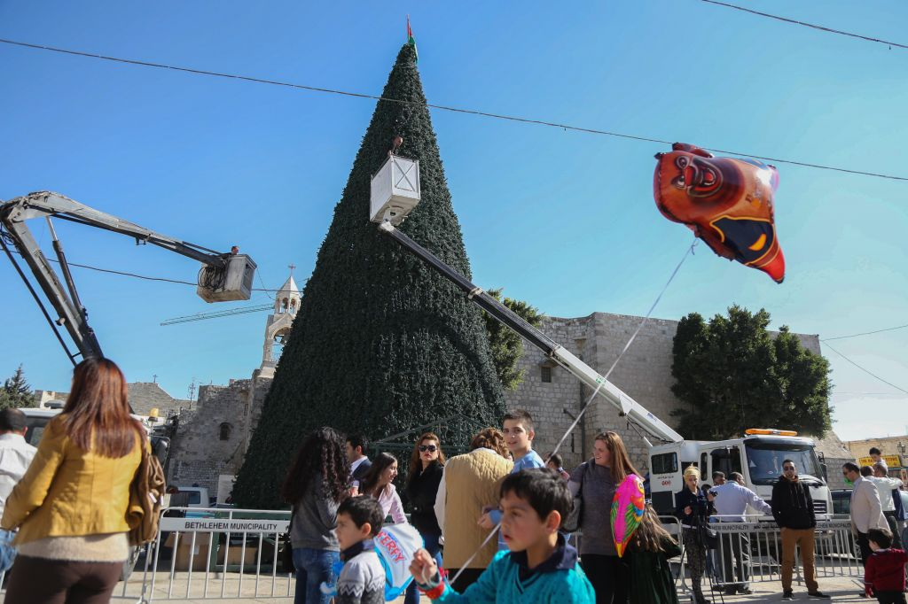 a giant christmas tree being placed during christmas preparations at nativity church square in bethlehem on - Giant Christmas Tree