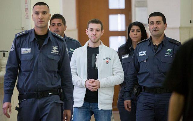 Yitzhak Gabai, a member of the right-wing Lehava organization, at the District Court in Jerusalem on December 1, 2015. (Yonatan Sindel/Flash90)