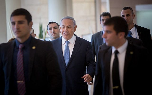 Prime Minister Benjamin Netanyahu arrives at the weekly Likud faction meeting at the Knesset, December 7, 2015. (Yonatan Sindel/Flash90)