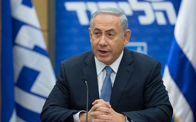 Prime Minister Benjamin Netanyahu speaks at a Likud faction meeting at the Knesset on December 7, 2015. (Yonatan Sindel/Flash90)