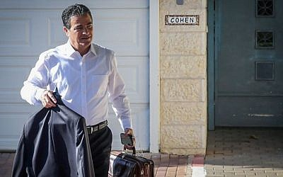 Yossi Cohen, outgoing head of the National Security Council, seen leaving his home the morning after Prime Minister Benjamin Netanyahu named him as the new head of Mossad, December 8, 2015. (Flash90)
