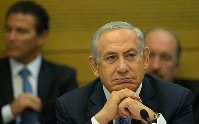 File: Prime Minister Benjamin Netanyahu at a Knesset committee meeting on the controversial natural gas deal, December 8, 2015. (Yonatan Sindel/Flash90)