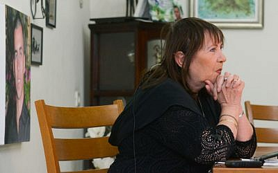 Zehava Shaul, mother of Oron Shaul, during a press conference at her home in Poriya on December 13, 2015. Givati Brigade Staff Sergeant Oron Shaul died in battle in the Gaza Strip during Operation Protective Edge in the summer of 2014. The IDF defined him as 'a soldier killed in action whose burial site is unknown.' (Basel Awidat/Flash90)