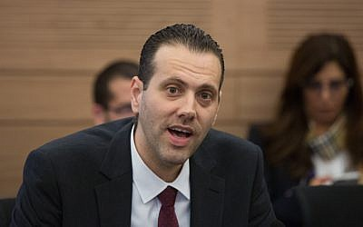 Likud MK Miki Zohar speaks during a committee meeting at the Knesset on December 14, 2015, during a discussion and a vote on a controversial natural gas deal recently approved by the government. (Yonatan Sindel/Flash90)