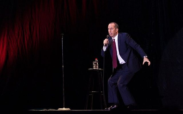 Jerry Seinfeld performs in Tel Aviv on December 19, 2015. (Miriam Alster/FLASH90)