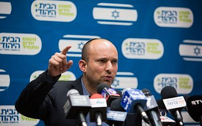 Education Minister Naftali Bennett leads the weekly Jewish Home party meeting at the Knesset in Jerusalem, December 21, 2015. (Photo by Yonatan Sindel/Flash90)
