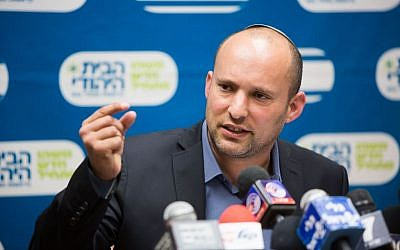 Education Minister Naftali Bennett, head of the Jewish Home party, leads the weekly faction meeting at the Knesset, December 21, 2015. (Yonatan Sindel/Flash90)