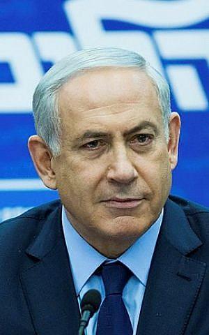 Prime Minister Benjamin Netanyahu leads a Likud faction meeting at the Knesset on December 21, 2015. (Yonatan Sindel/Flash90)