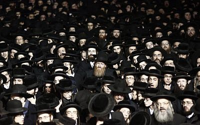 Illustrative photo of ultra-orthodox Jewish men in a protest in Jerusalem December 22, 2015. (Yonatan Sindel/Flash90)