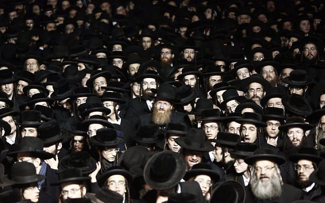 Illustrative photo of ultra-orthodox Jewish men in a protest in Jerusalem December 22, 2015. (Yonatan Sindel/Flash90)