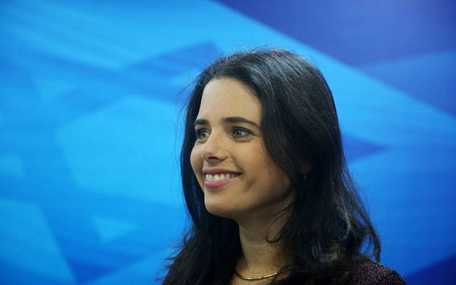 Justice Minister Ayelet Shaked arrives for the weekly cabinet meeting, Jerusalem, December 27, 2015. (Marc Israel Sellem/POOL)