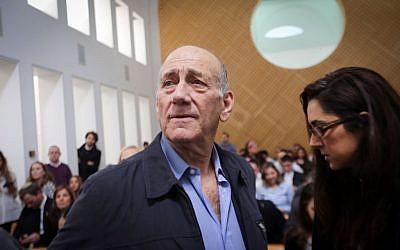 Former prime minister Ehud Olmert at the Supreme Court in Jerusalem on December 29, 2015. (Gil Yohanan/Pool)