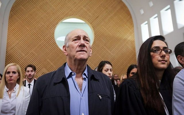 Former prime minister Ehud Olmert at the Supreme Court in Jerusalem on December 29, 2015 (Gil Yohanan/POOL)