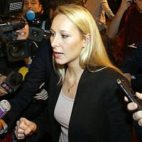 Far right National Front party regional leader for southeastern France, Marion Marechal-Le Pen, at a meeting with supporters, in Carpentras, southern France, December 6, 2015. (AP Photo/Claude Paris)