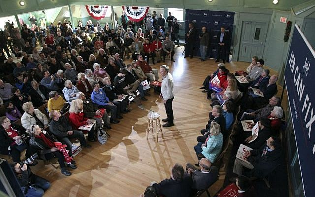 Republican presidential candidate Jeb Bush speaks during a town hall event, Saturday, Dec. 19, 2015, in Exeter, New Hampshire. (AP Photo/Mary Schwalm)