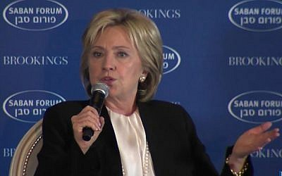 Former secretary of state and Democratic presidential front-runner Hillary Clinton addresses the Saban Forum in Washington DC, December 6, 2015. (Screen capture: YouTube)
