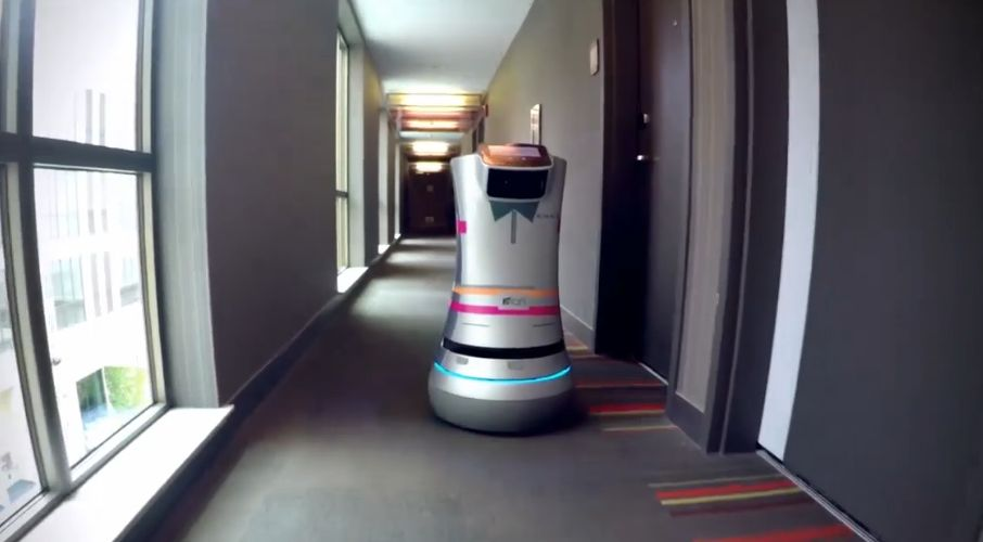 The Savioke Relay is a robotic bellboy using Intel RealSense technology to scan, map and navigate its way to hotel rooms. (Intel)